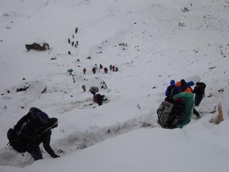 De Lobuche à Gorakshep sous la neige