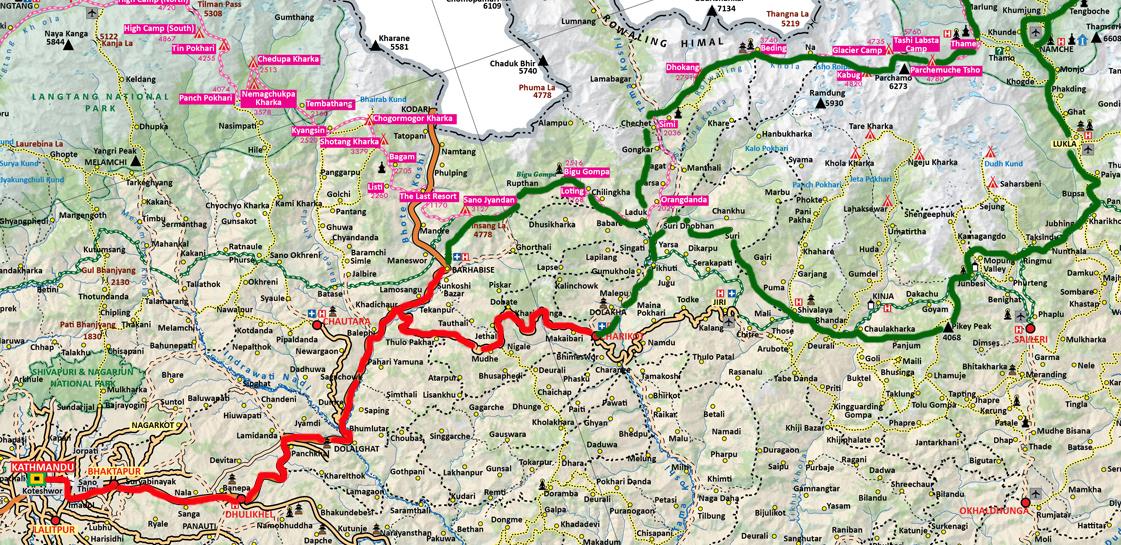 En rouge : trajet en bus - En vert : trajet à pied