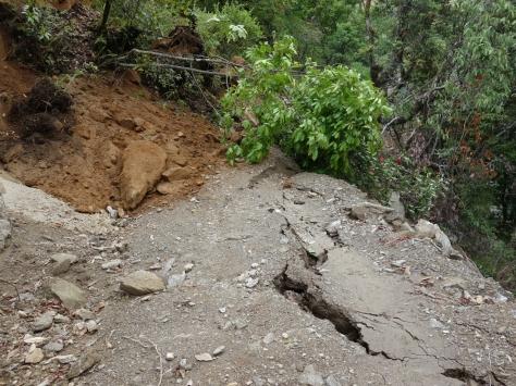 Landslide and cracks on the jeep road