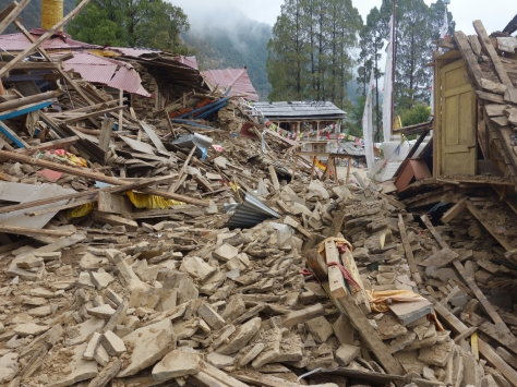 Bigu Gompa destroyed by the first aftershock